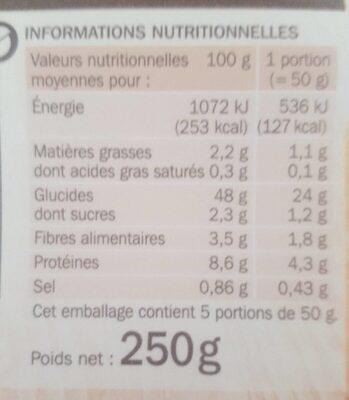 Baguette céréales et graines pré cuite - Nutrition facts