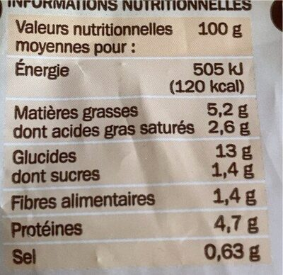 Poêlée à la Savoyarde surgelée - Información nutricional - fr