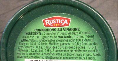 Cornichons - verre decoré - Informations nutritionnelles - fr