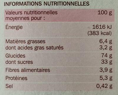 Carré craquant à la framboise - Informations nutritionnelles