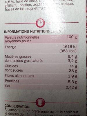 Carré craquant à la framboise - Informations nutritionnelles - fr