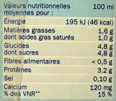 Lait demi-écremé engagé briques - Informations nutritionnelles - fr