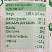 Pur jus pomme bocal produit en conversion vers l'agriculture biologique - Nutrition facts - fr
