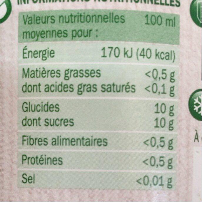 Pur jus pomme bocal produit en conversion vers l'agriculture biologique - Informations nutritionnelles - fr