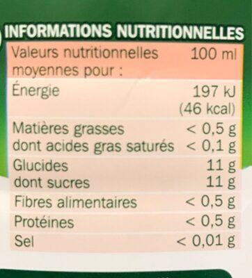 Jus de pomme 100 % pur jus - Informations nutritionnelles - fr