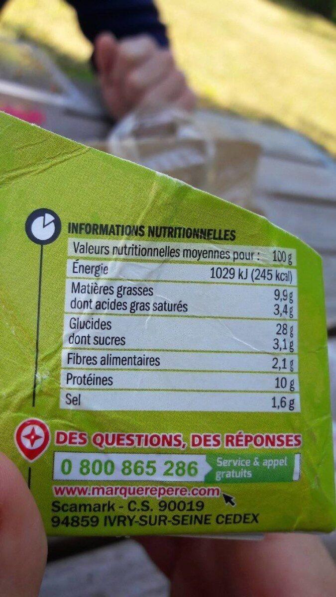 Pani'talia jambon mozza x2 - Nutrition facts