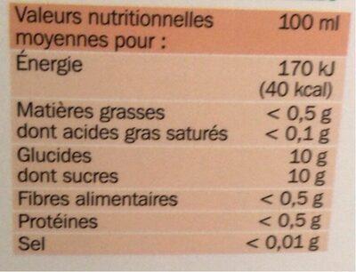 Pur jus pomme bk - Informations nutritionnelles