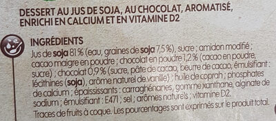 Délice soja liégeois au chocolat - Ingredients - fr