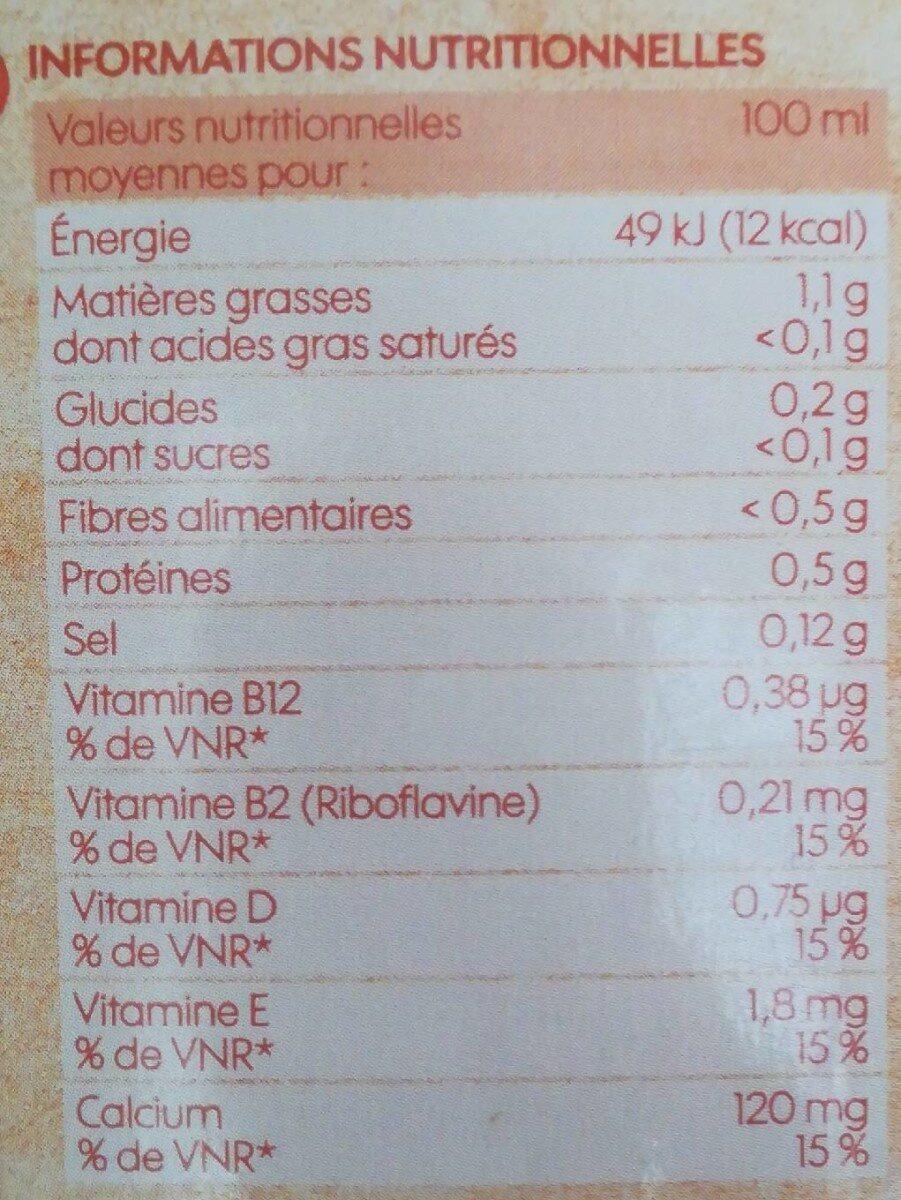 Boisson amande sans sucres ajoutés brique - Informations nutritionnelles - fr