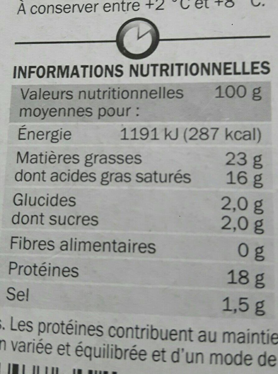 Camembert engagé - Nutrition facts - fr