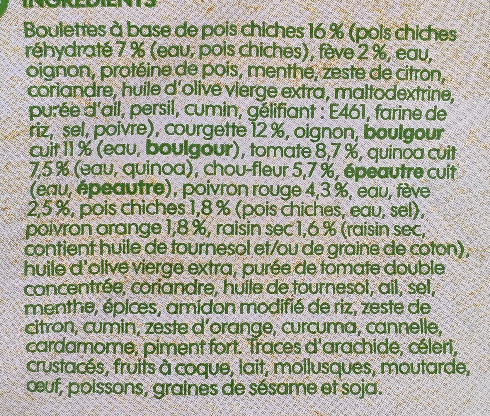 Falafels quinoa et mélange de légumes - Ingrediënten - fr