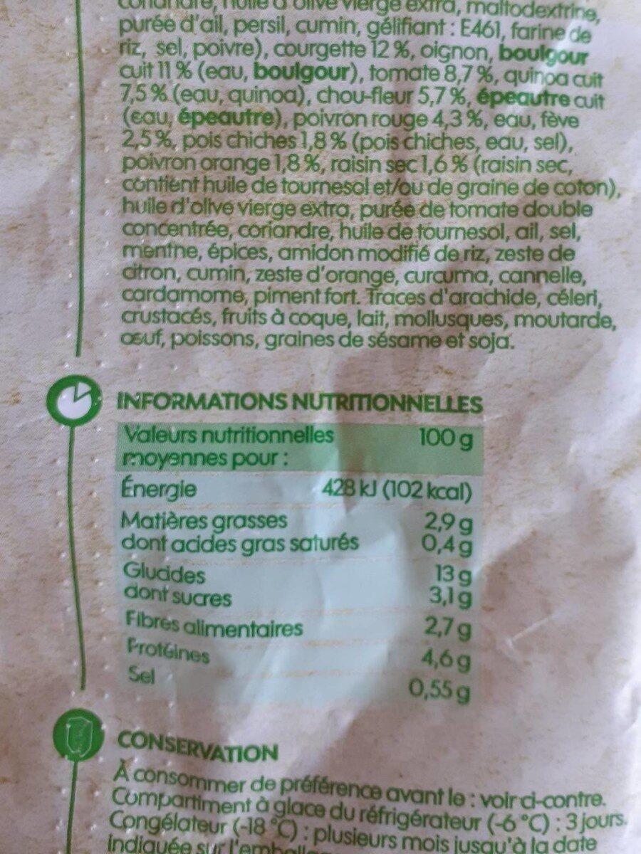 Falafels quinoa et mélange de légumes - Voedingswaarden - fr