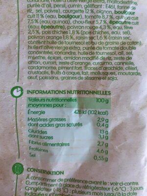 Falafels quinoa et mélange de légumes - Informations nutritionnelles - fr