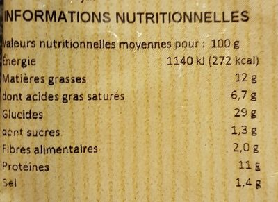 Le Rustique - Informations nutritionnelles