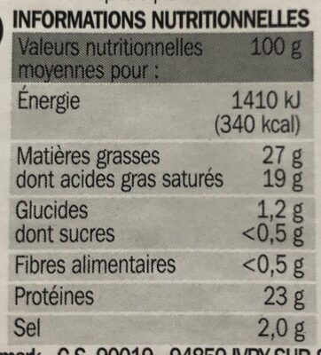 Raclette Truffe Blanche d'été - Informations nutritionnelles - fr