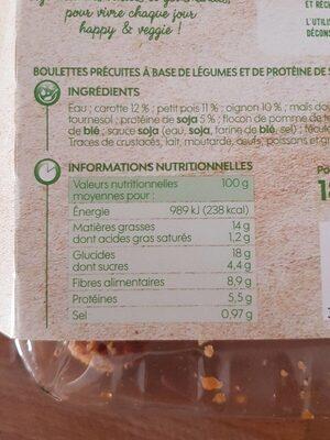 Boulettes carottes, petits pois et maïs - Nutrition facts