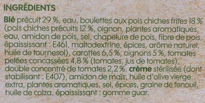 Boulette de pois chiche sauce piquante et blé - Ingredienti - fr