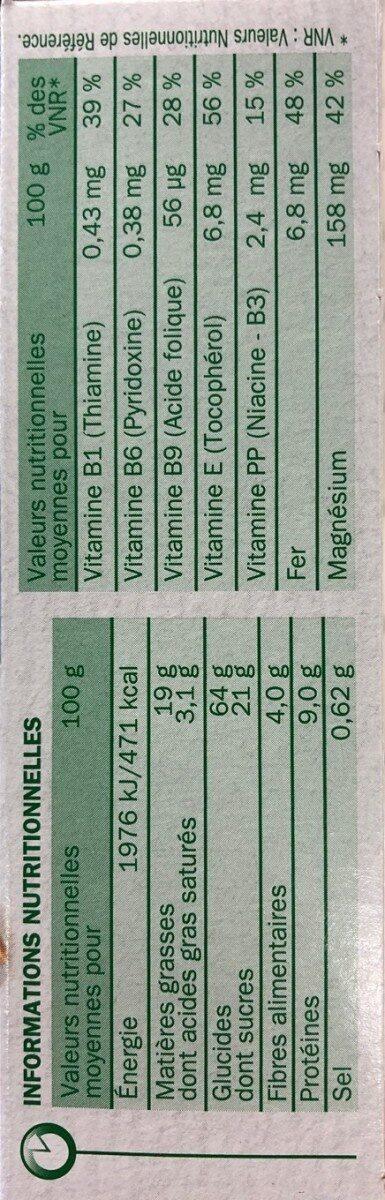 Nat&vie tentre chocolat - Valori nutrizionali - fr