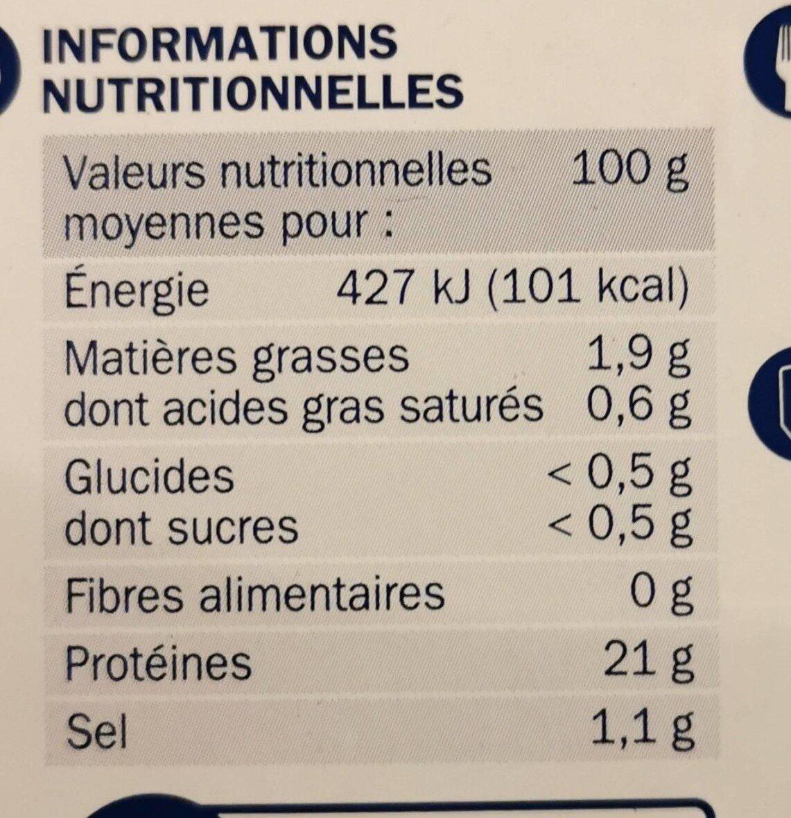 Filets de poulet Extra tendres - Valori nutrizionali - fr