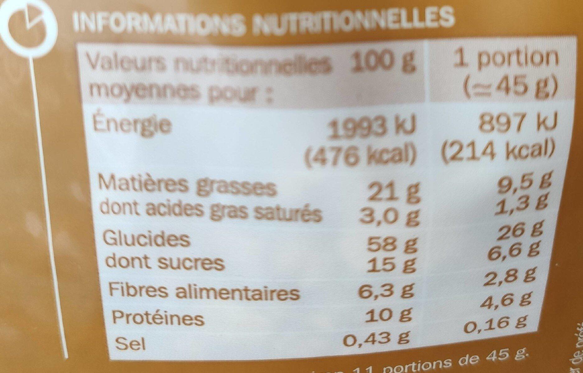 Grainéa müesli 4 noix - Informations nutritionnelles - fr