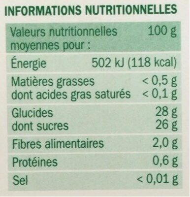 Coulis fruits jaunes - Valori nutrizionali - fr