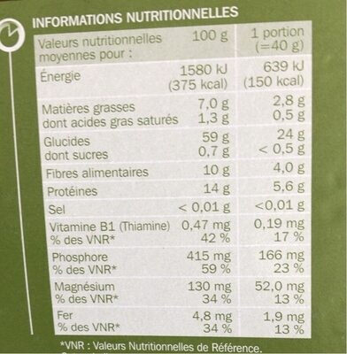Flocons d'avoine - Información nutricional - fr