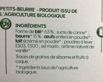 Petit-beurre bio - Ingredients