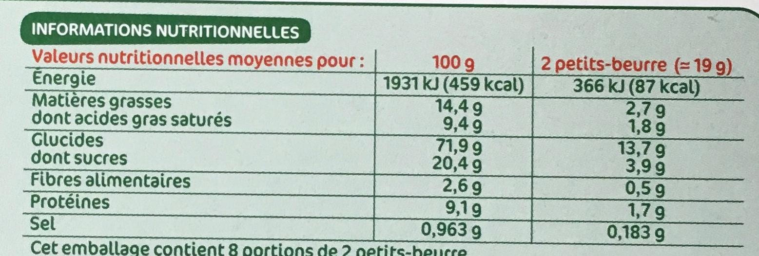 Petit-beurre bio - Nutrition facts