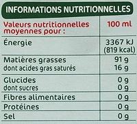 Huile d'olive vierge extra bio - Nährwertangaben - fr