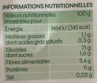 Farine de blé type 65 - kg - Informations nutritionnelles - fr