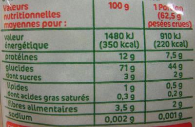 Coquillettes Bio - Informations nutritionnelles - fr