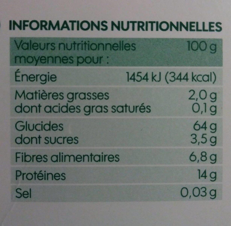 Torsades semi-complètes - Nutrition facts - fr