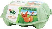 Oeufs biologiques de poules élevées en plein air x 6 - Produit - fr