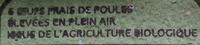 Oeufs biologiques de poules élevées en plein air x 6 - Ingrédients - fr