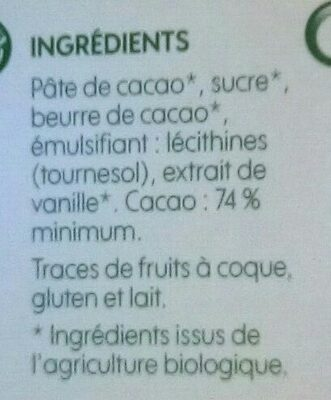 Chocolat noir 74% cacao - Ingredients - fr