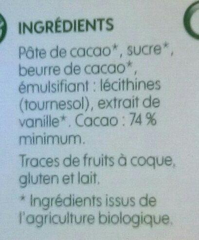 Chocolat noir 74% cacao - Ingrédients - fr