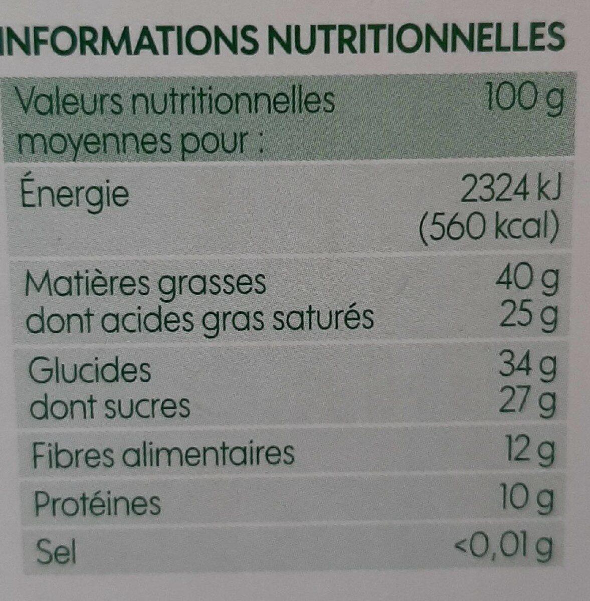 Chocolat noir 74% cacao - Informations nutritionnelles - fr