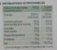 Chocolat noir 74% cacao - Informations nutritionnelles