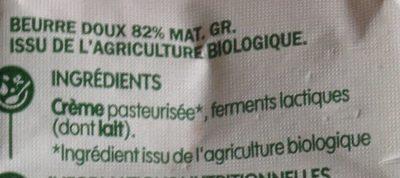 Beurre doux bio 82% mg - Ingrediënten