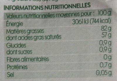 Beurre doux bio 82% mg - Voedingswaarden