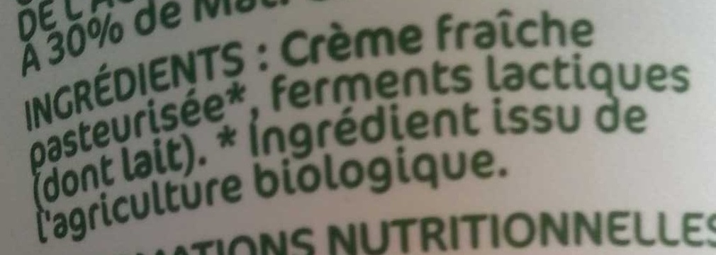 Crème fraîche épaisse bio 30 % Mat. Gr. - Ingredients