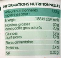 Crème fraîche épaisse bio 30 % Mat. Gr. - Nutrition facts