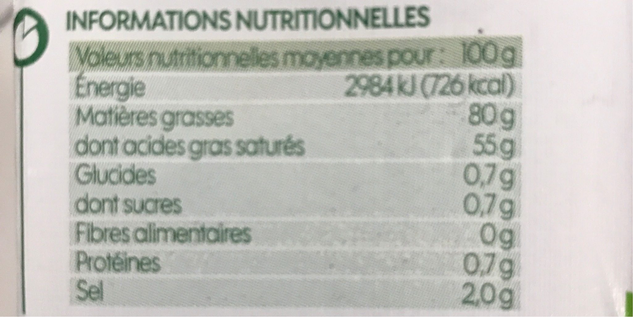 Beurre demi-sel 80%mg - Informations nutritionnelles
