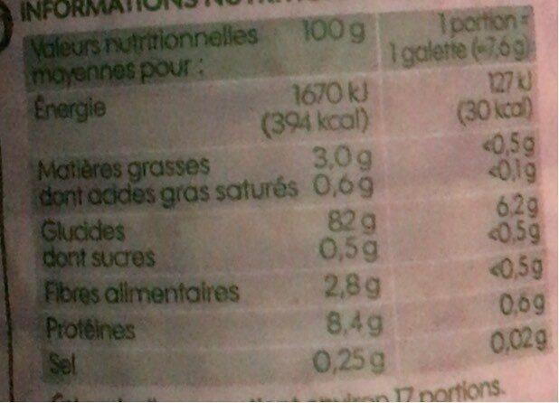 Galettes de riz complet bio - Voedingswaarden - fr
