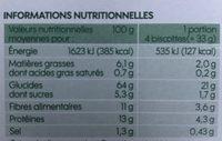 Biscottes complètes x 34 - Voedigswaarden