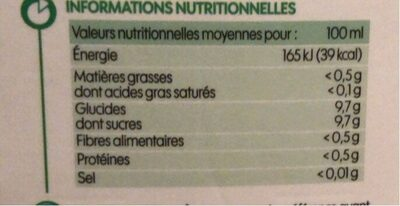 Pur jus pomme bio - Nutrition facts - fr