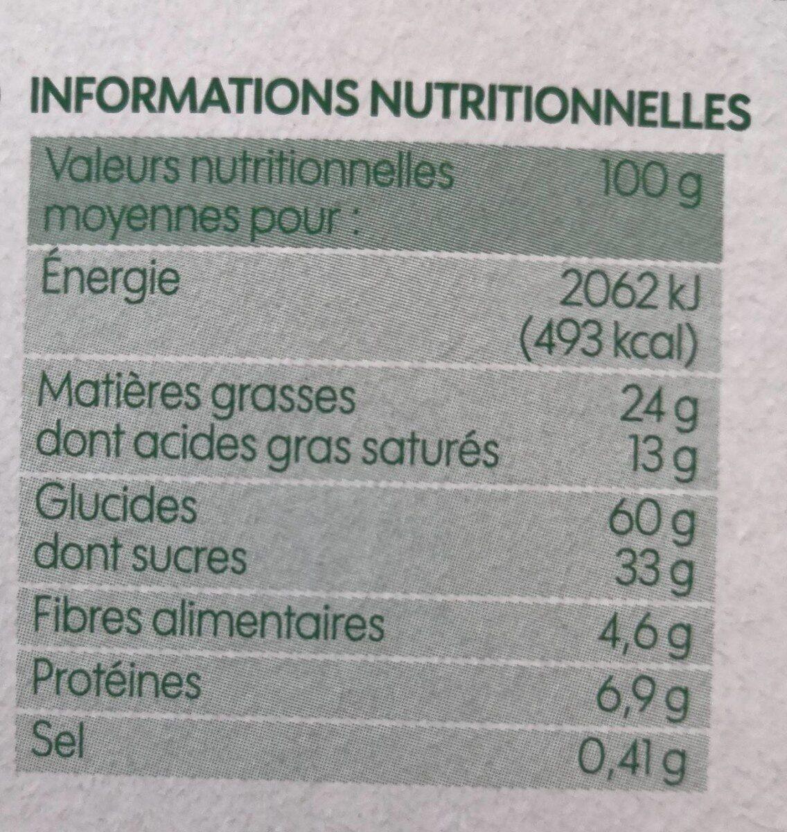 Cookies parfum tout chocolat bio - Voedingswaarden - fr