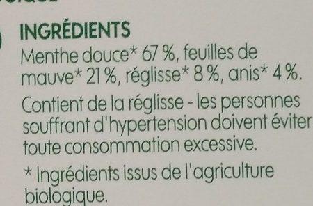 Infusion après repas (menthe/anis/mauve/réglisse) x 20 sachets - Ingrediënten - fr