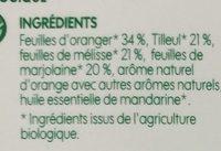 Infusion pour le soir (tilleul/mélisse/oranger/marjolaine) x 20 sachets - Ingrediënten