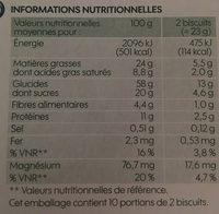 Biscuits sésame - Informations nutritionnelles - fr